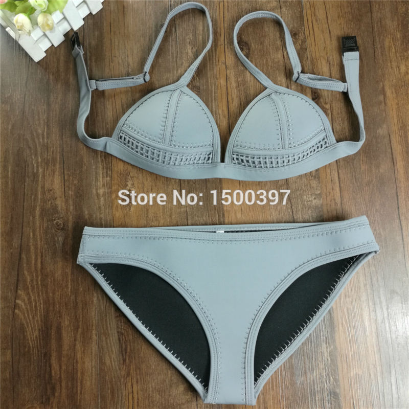 abd7c3a27766 2019 Women Cute Pink Neoprene Bikini Set Brand neoprene triangle swimsuit  high quality crochet mesh swimwear Pinup Bathing Suit