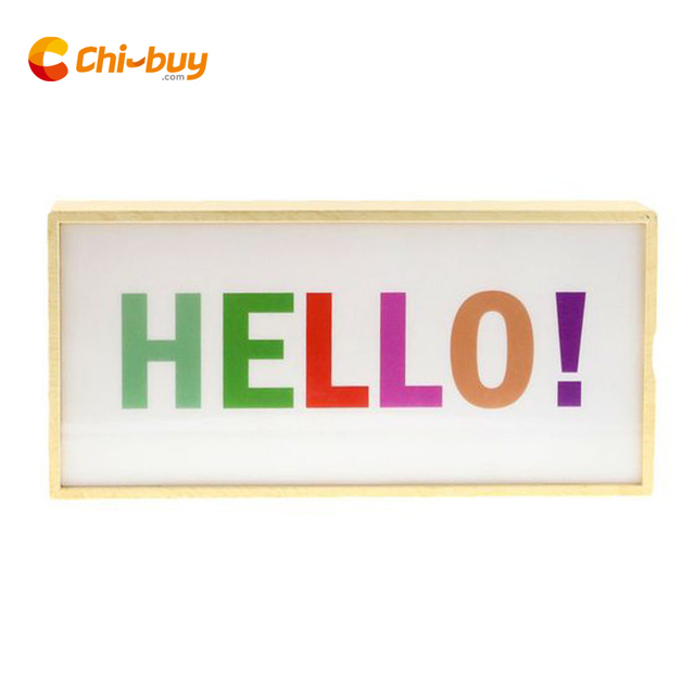 Single Line Battery Ed Cinema Light Box Imitation Wood Abs Cinematic Lightbox Hello Interchangeable Poster