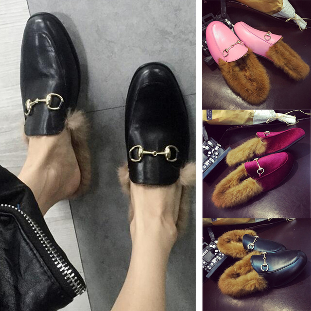 Womens Fashion Horsebit Slippers Slip Flats Mules Loafers PU Leather Shoes