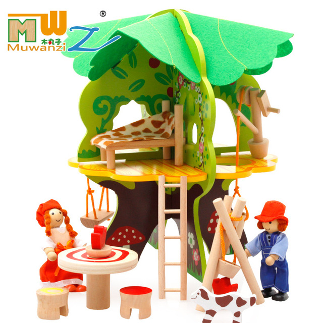 Assembling DIY Miniature Model Kit Wooden Doll House Unique Big Size House Toy casa de boneca W181