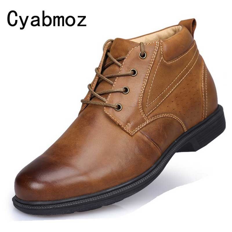 Genuine Leather Height Increasing Shoes Elevated Tall Motorcycle Boots for Fashion Men Heightening Shoe 9CM taller Ankle Booties genuine leather heightening elevated oxfords men s formal business boots elevator 3 15 inches