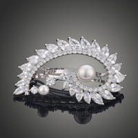Brand Fashion Hair Accessories Bridal Hair Jewelry AAA Cubic Zircon With Lmitation Pearls Hair Clip For