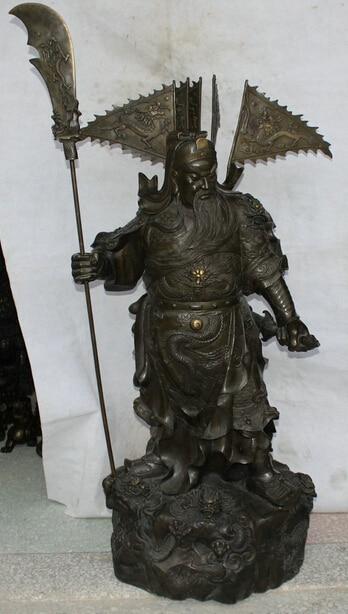 wholesale factory 50 Chinese Bronze stand Guan Gong Yu Warrior God font b knife b font