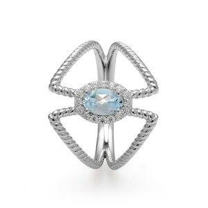 Image 4 - 宝石のバレエ 0.6Ct オーバル天然スカイブルートパーズ宝石女性のための指輪 925 スターリングシルバーファッションファインブレスレットジュエリー