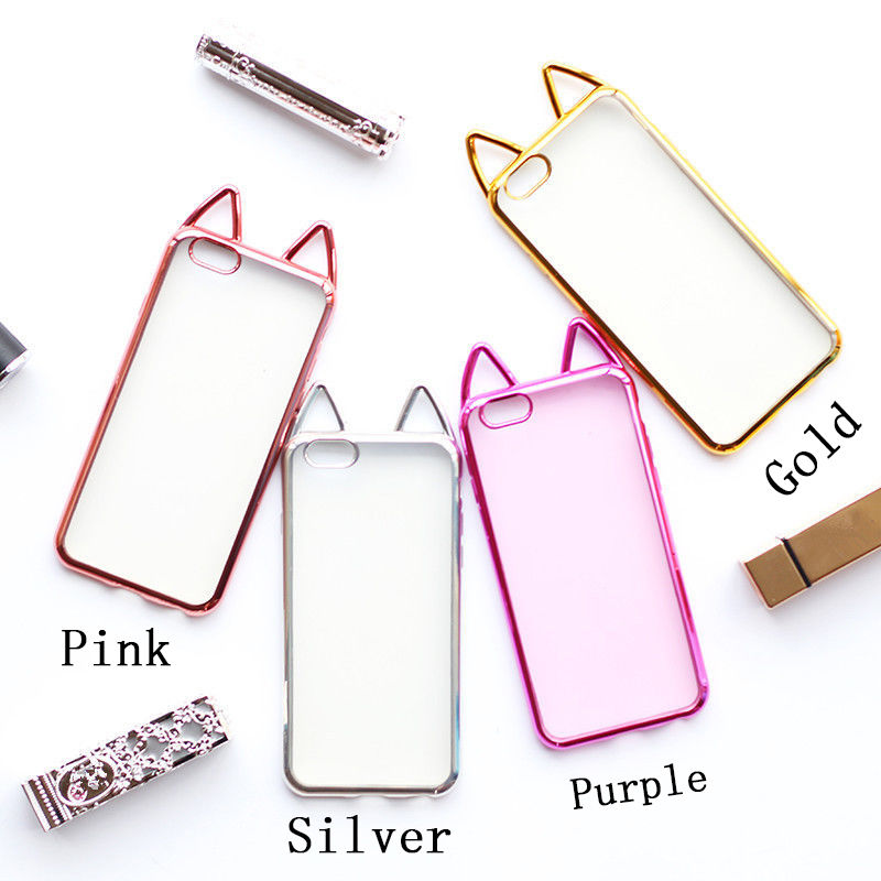 YHCSZ Ultra Thin Luxury Cat Ear Rubber Cute Soft Phone Case For iPhone 5 6 6s 7 8 Plus X
