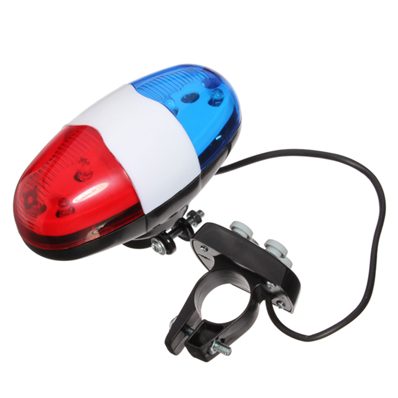 Bicycle 6 Flashing LED 4 Sounds Police Siren Trumpet Horn Bell Bike Rear Light YS-BUY