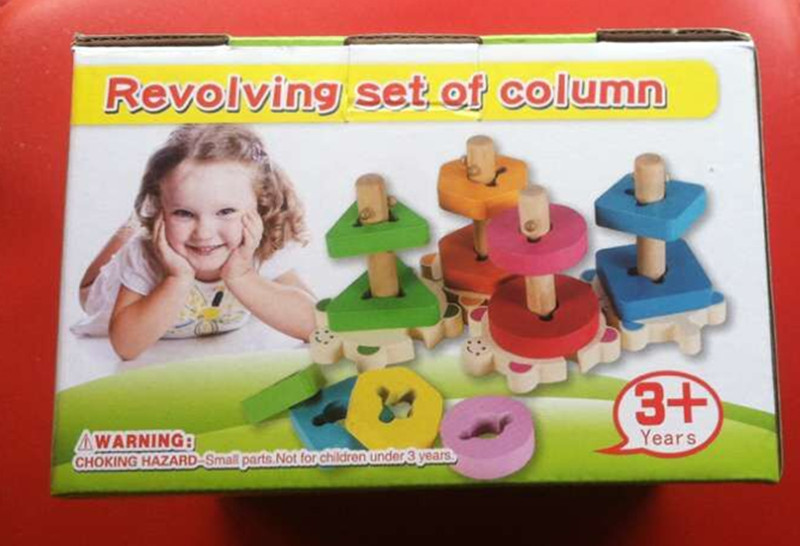New wooden toy Revolving set of column blocks baby educational gift Free shipping