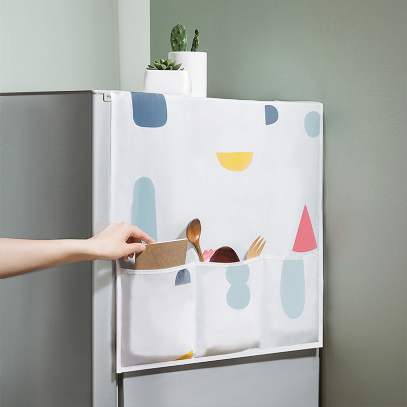 Vanzlife Household Refrigerator Dust Cover Colorful Geometric Floral Dust Proof Cover Storage Bag Waterproof Refrigerator Cover