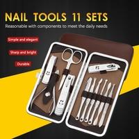 DeLiJia 11pcs Portable Manicure Set Pedicure Scissor Tweezer Knife Utility Nail Clipper Kit Stainless steel Nail Care Tool Sets