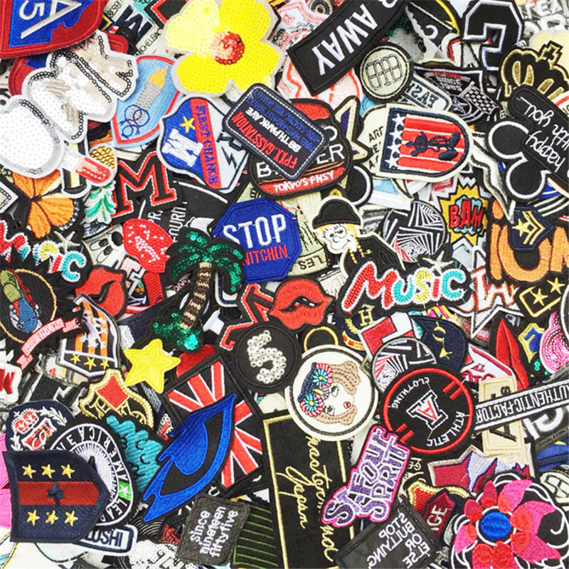 10PCS/Set Mixed Iron On And Sew-On Patches For Clothing Shirt Jacket Embroidered Clothing Patches Stripes Stickers