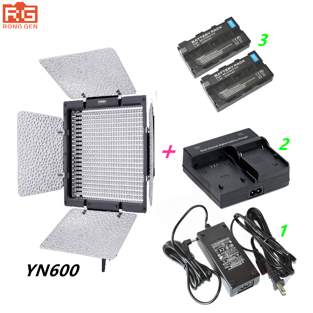 <font><b>YONGNUO</b></font> <font><b>YN600</b></font> <font><b>Yongnuo</b></font> YN-600 3200-5500k LED Video Light + AC Adapter + 2 * NP-F550 + Charger image