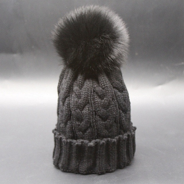 twisted knitted fox fur pom pom beanies high quality awesome winter real  fox fur warm knitted beanies pom pom fur hat beanies d9f67498c