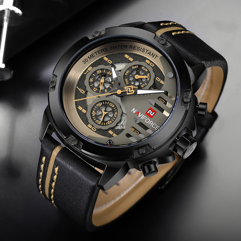 NAVIFORCE Luxury Mens Leather Strap Watches