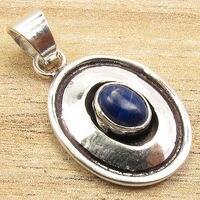 Birthstone Jewellery Silver Plated Cabochon LAPIS LAZULI Gem Pendant