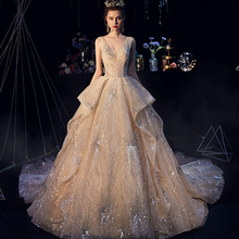 SERMENT 2019 new starry wedding dress Hepburn bride retro champagne dreamy trailing luxury V-neck uniform skirt Bridal Dresses