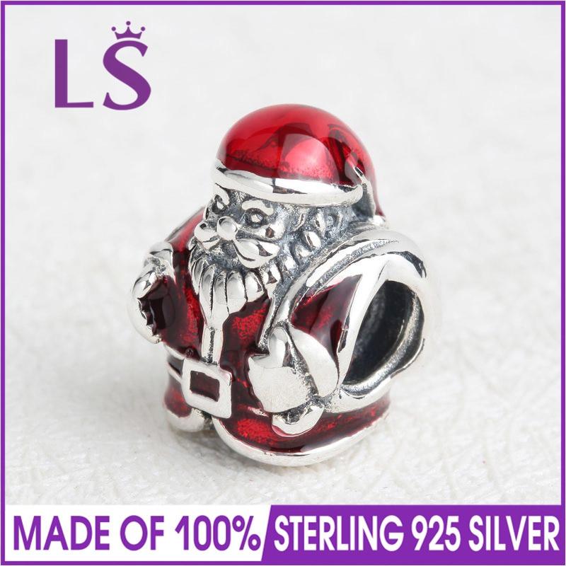 LS High Quality 100% Real 925 Silver Father Christmas Charms Beads Fit Original Bracelets Pulseira Encantos.100% Fine Jewlery W