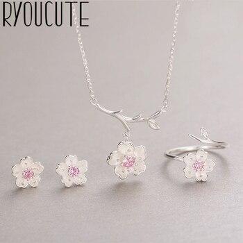 Ryoucute moda casamento conjuntos de jóias de noiva cor prata zircônia flor gargantilha colares brinco para mulher dubai bijoux 1