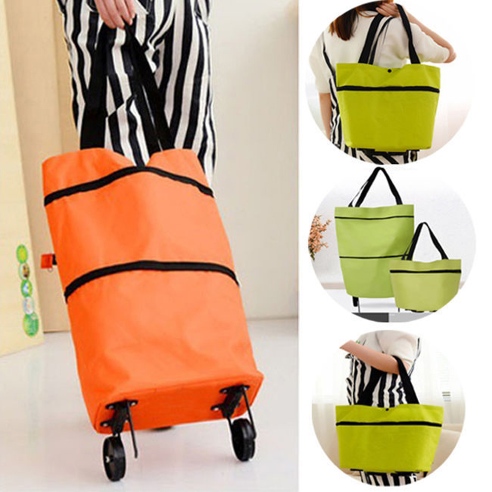 Shopping Trolley Bag Portable Oxford Foldable Tote bag Shopping Cart Reusable Grocery Bags Wheels Rolling Shopping Organizer(China)