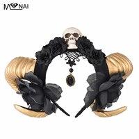 Handmade Gothic Lolita Sheep Ears Horn with Flowers Veil KC Headband Halloween Skull Hair Accessories Party Photography