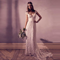 2016 Vintage Lace Bohemian Wedding Dresses V Neck Empire Cap Sleeves Long Backless Bridal Gown By Campbell real photo