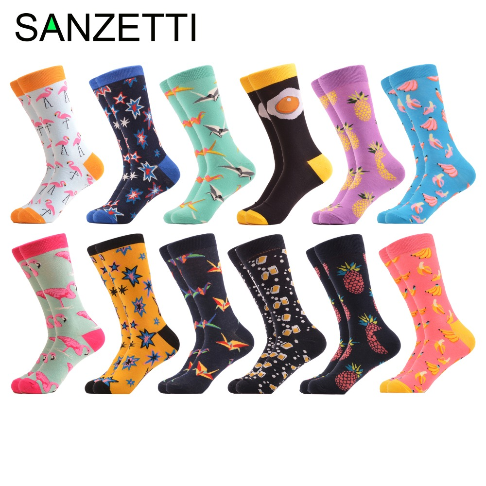 SANZETTI 12 pairs/lot Colorful Combed Cotton Fashion Mens Crew Socks Flamingos Star Pattern Funny Dress Causal Wedding Socks