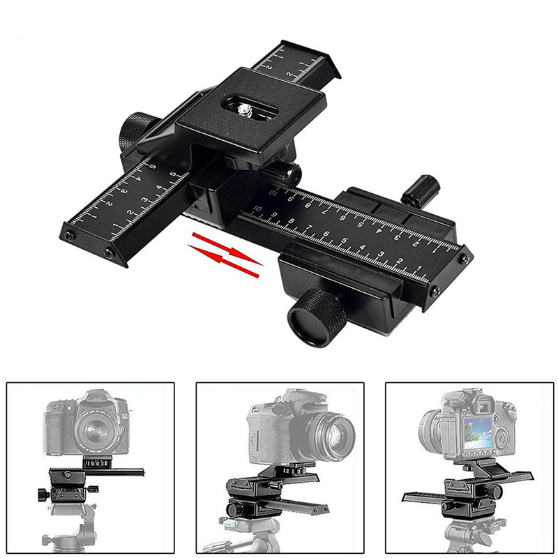 лучшая цена Centechia 4 Way Macro Focusing Rail Slider With Screw Adjustable Macroshot Photography For Canon Sony Pentax Nikon Camera GDeals