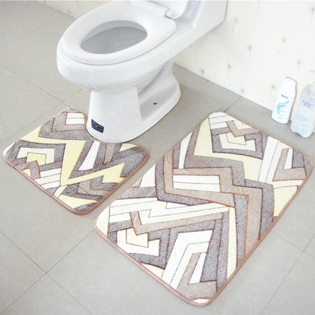 2 pz tappetini da bagno e toilette set antiscivolo 45x50 cm e 50x80 cm