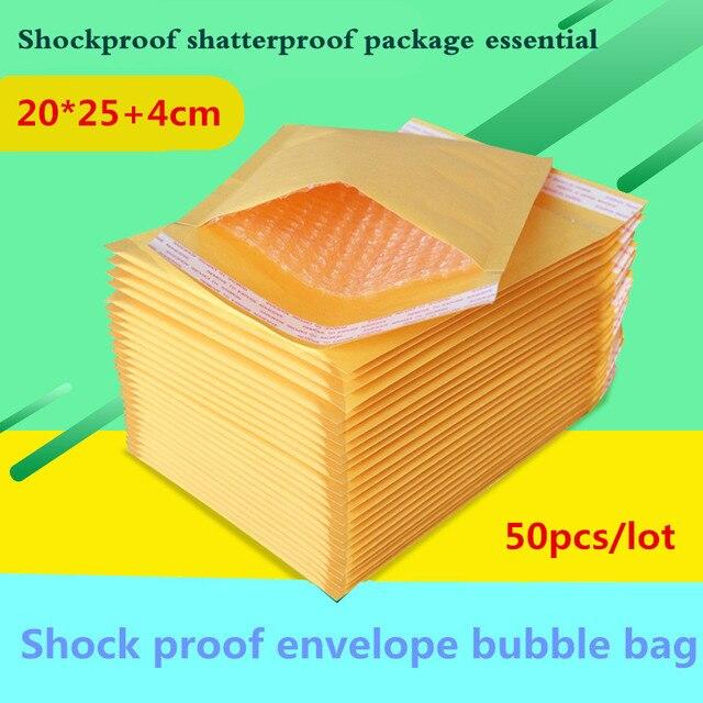 50 unids/lote 20 cm * 25 cm + 4 cm Amarillo Kraft Bolso de Burbuja Sobres Acolchados de Compresión A Prueba de Golpes Amarillo bolsas