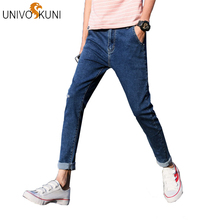 d0b90561cd60 UNIVOS KUNI 2018 Summer New Style Casual Korean Fashion Men Jeans With  Elasticity Regular Fit Solid