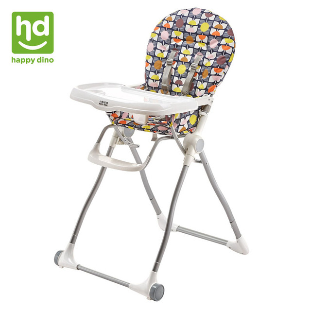 Happy Dino Baby Dining Chair Foldable Multifunction Compact Highchair Portable Feeding Adjule Kid