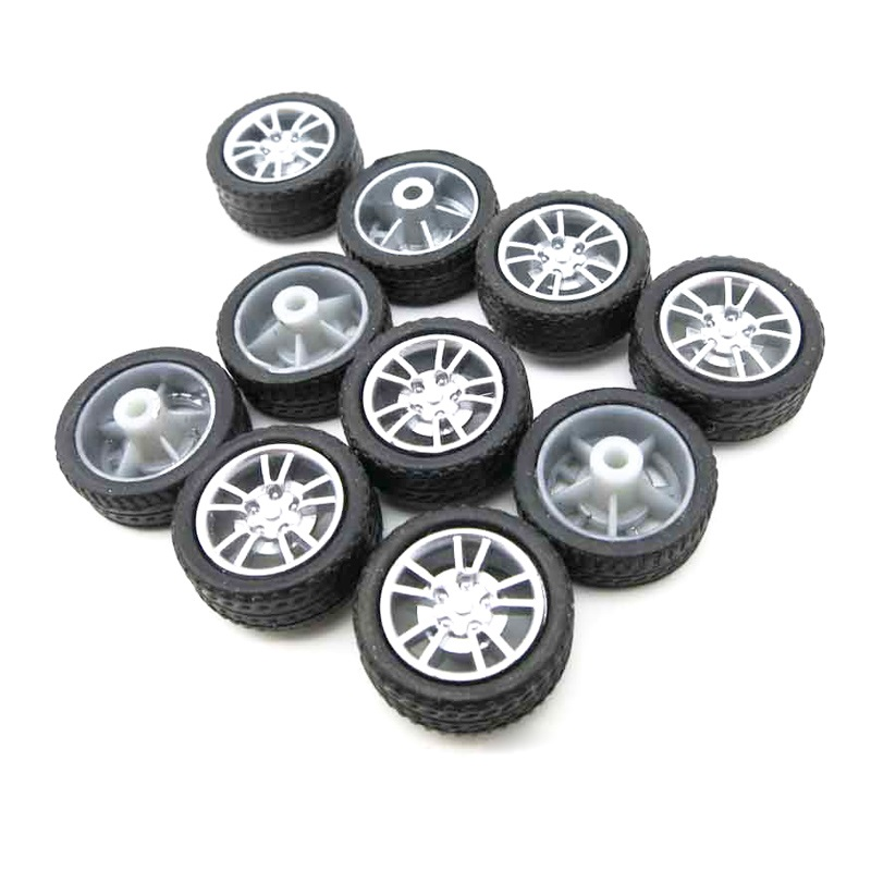10PCS 16mm Mini Rubber Wheels Tyre DIY Toys Wheel Tires with 1.9mm Shaft Diameter for Remote Control Car Model Replacement Tools
