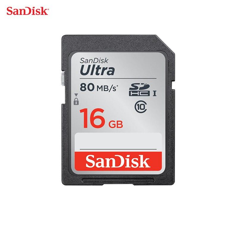 SanDisk SD Karte Speicher Karte Ultra Class10 SD Karte C10 UHS-I 80 mb/s Lesen Geschwindigkeit für Kamera Camcorder 16 gb
