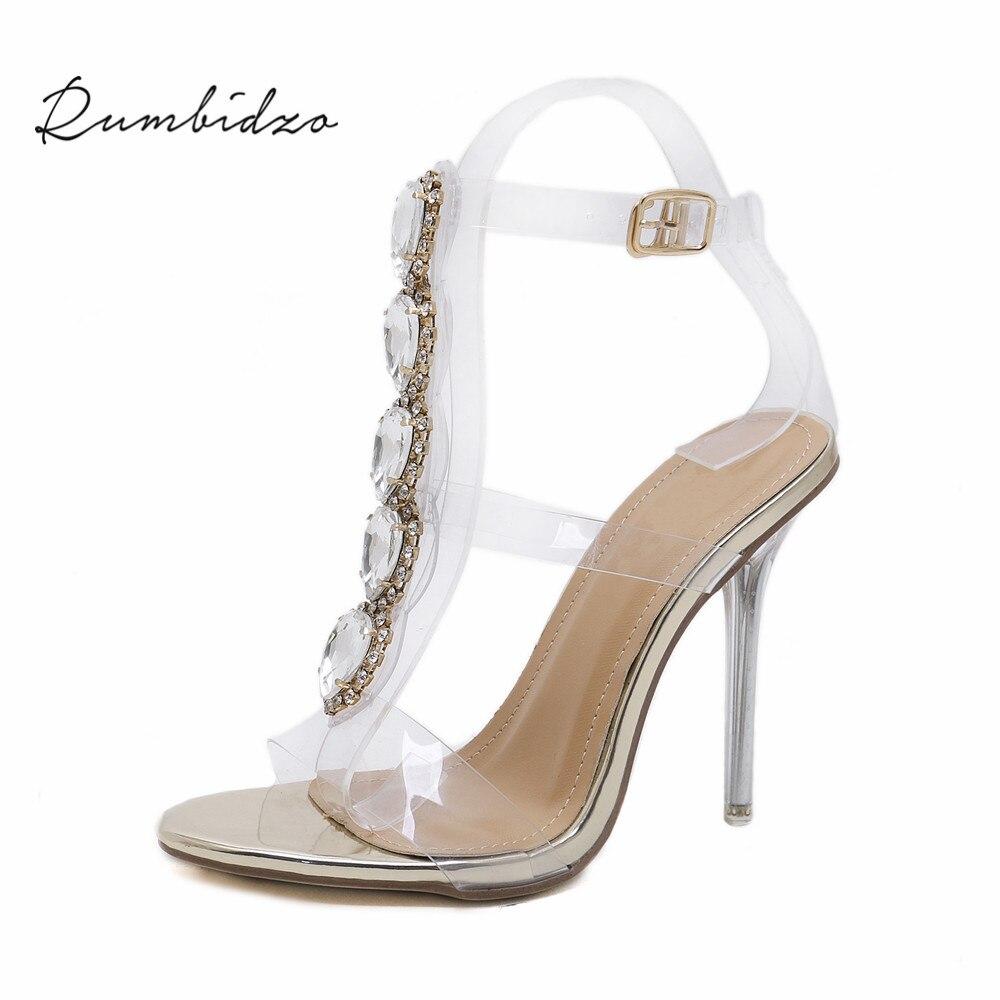 dc1a2a49fae Rumbidzo Hot Women Pumps 2018 Open Toe Woman High Heels Shoes Crystal PVC  Clear Heels Thin Heels Buckle Strap Diamonds Sapatos