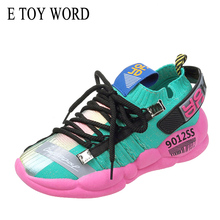 E TOY WORD 2019 New Sports Shoes Women flying woven Elastic Socks Sneakers women Breathable Students Casual tenis feminino