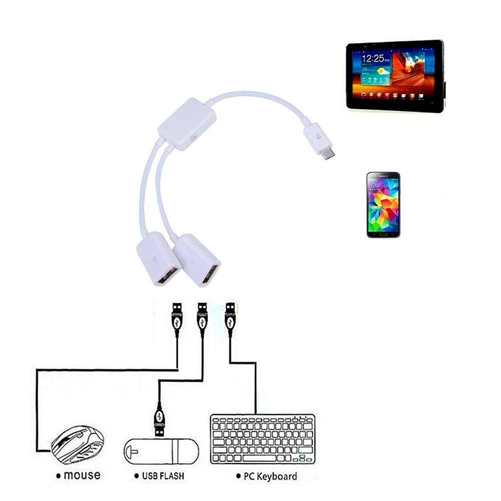 2 in 1 Micro USB HUB Male to Female Dual USB 2.0 Host OTG Hub Adapter Cable Converter Extender for Android Phone Tablet PC 20cm dual micro usb host otg hub adapter cable black 3 ports data transfer connector device for dell venue8 pro windows 8 sep08