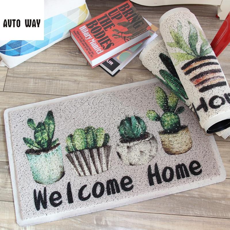 Plante imprimé motif cactus PVC Stretch fil porte tapis hall anti-dérapant tapis imperméable tapis de sol entrée mousse tapis