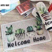 plant printed pattern cactus PVC Stretch wire door mats hall Anti slip carpet waterproof floor mat Entrance Foam rug carpet