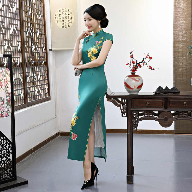 6f2d758b3 Free shipping fashion short sleeve long dress Qipao Dress vintage chinese  style cheongsam dress Chinese dress