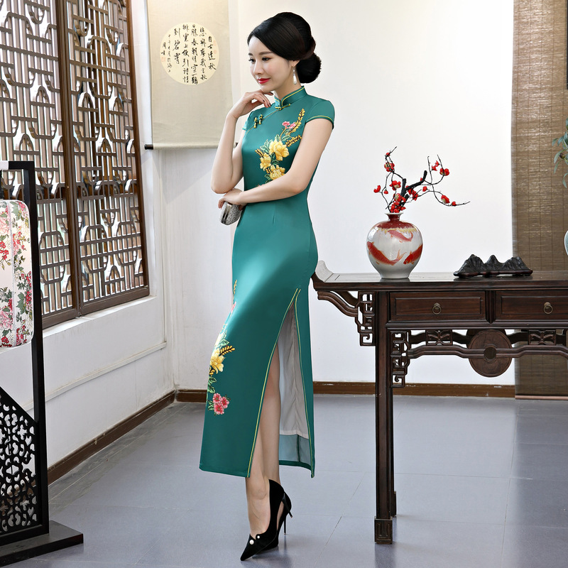 Livraison gratuite mode manches courtes longue robe Qipao robe vintage style chinois cheongsam robe chinoise grande taille 3XL 4XL