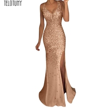 1a8bac12279 TELOTUNY Ladies Dress Women Sequin Prom Party Ball Gown Sexy Gold Evening  Bridesmaid V Neck Long