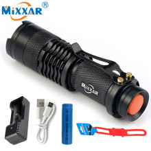 RU Mini penlight 2000LM Waterproof LED Flashlight Torch 3 Modes zoomable Adjustable Focus Lantern Portable Light use AA or 14500