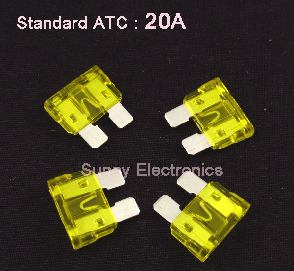 Wholesale 1000pcs/lot New Standard ATC ATO Blade Fuse 20A Yellow Car Boat