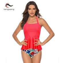 2019 Sexy Pink Floral Print High Waist Bikini Plus size Bandeau Tankini Women Swimwear Cross Criss two piece Female Swimsuit