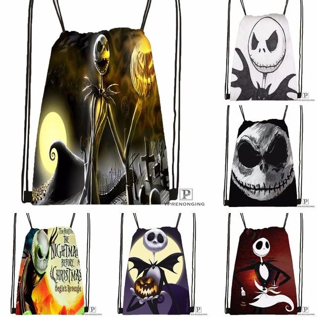 custom the nightmare before christmas drawstring backpack bag cute daypack kids satchel black back