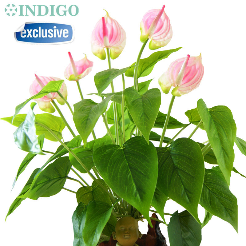 INDIGO- Anthurium Bouquet (18st Löv + 3st Blommor + Rötter) Touch Flower Bröllop Flower Blomstrar Party Table Flower Gratis frakt
