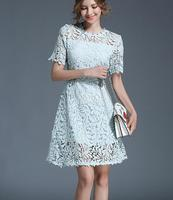 Free Shipping Hot Sale Simple Design Short Sleeve Round Collar Lace Splicing Hollow Out Lady Dress Light Blue