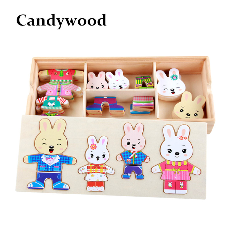 Cartoon Rabbit Change Clothes Wooden font b Toy b font Puzzles Montessori Educational Dress Changing Jigsaw