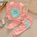 Autumn Newborn Baby Girl Set Sunflower Costume Cute Baby Girl Set T shirt + Pants Children Kids Sports Suit Clothing Set GD-487