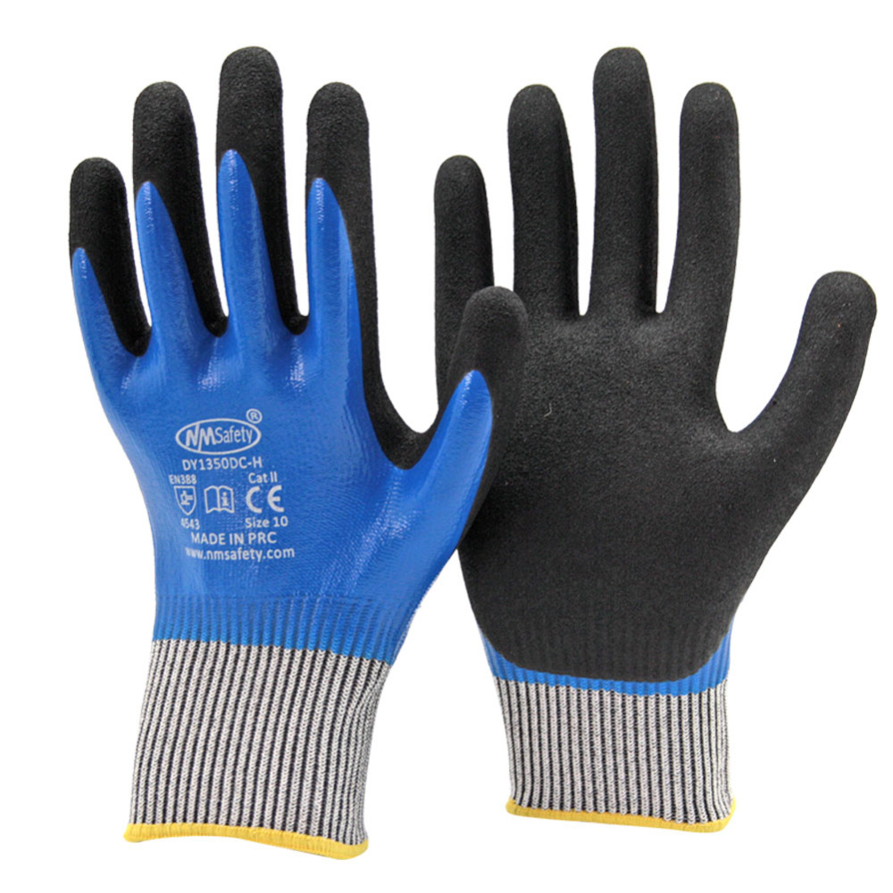 Nmsafety High Quality Doule Dipping Nitrile Palm Oil-proof & Cut Resistant Waterproof Glove utilization of palm oil mill wastes
