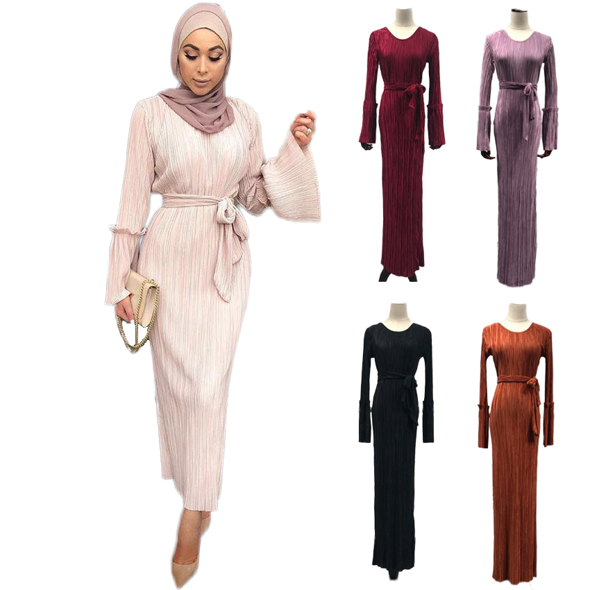 Wedding Party Elegant Flare Sleeve Dress for Woman Muslim Costumes Dubai Arab Malaysia Clothing Lady Drape Dress with Belt